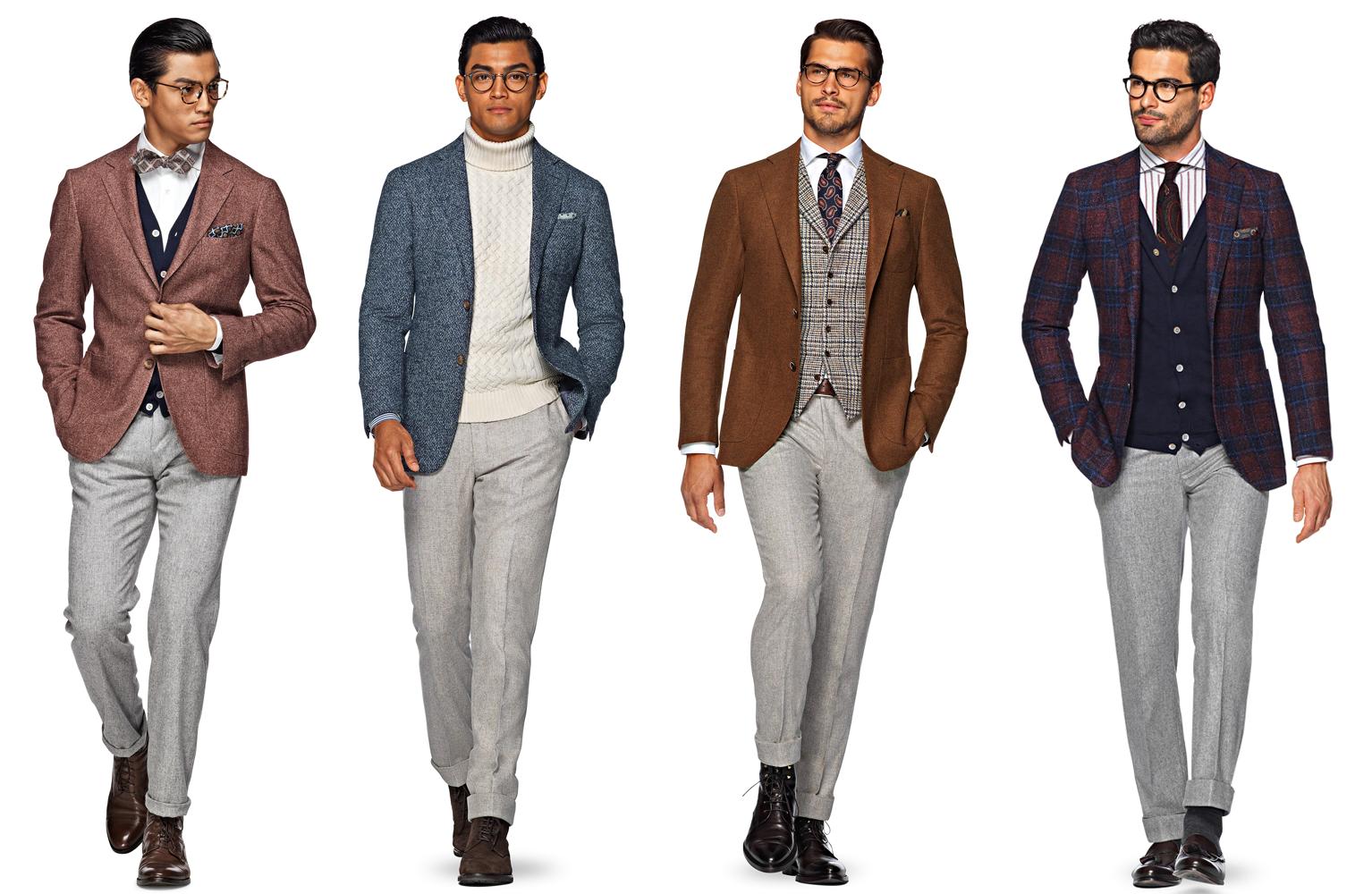 7edb708a8d22a7 Szare flanelowe spodnie idealnie nadają się do zestawów koordynowanych.  Źródło: eu.suitsupply.com