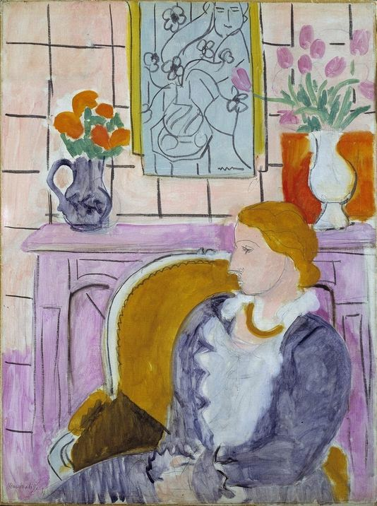 Profil bleu devant la cheminée (Woman in Blue in Front of a Fireplace)