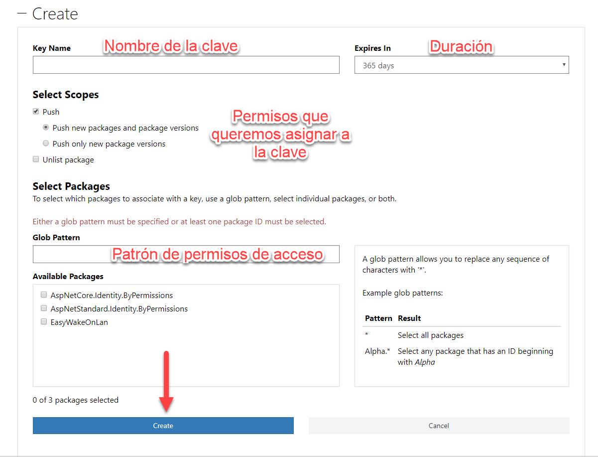 Formulario de creación de API key