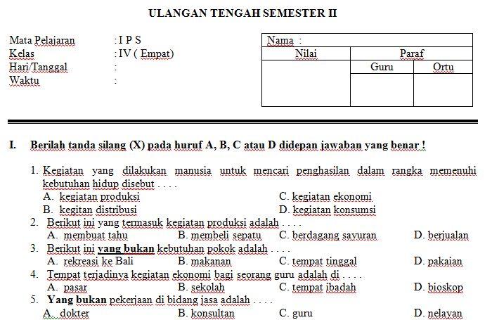 Download Contoh Soal UTS SD/MI Kelas IV Semester 2 Mata Pelajaran IPS Format Microsoft Word