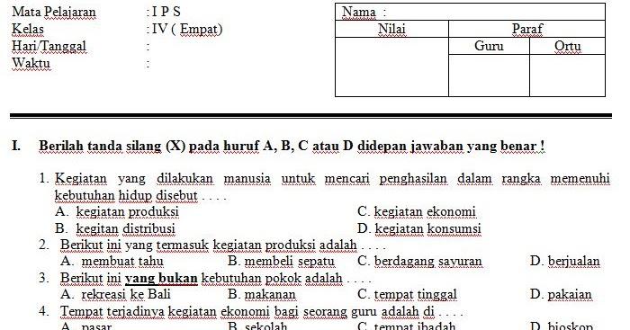 Download Contoh Soal Uts Sd Mi Kelas Iv Semester 2 Mata