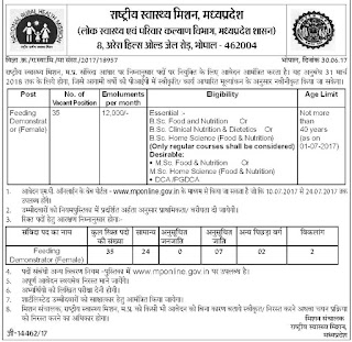 NHMMP Feeding Demonstrator Jobs Recruitment Online