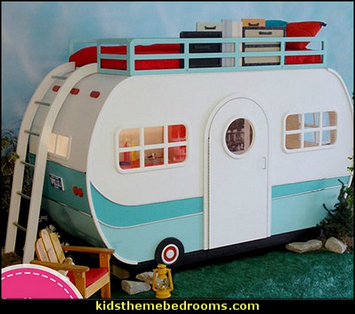 caravan bed  camping - glamping - camping gear - outdoor decor - tents fun furnishings - outdoor theme - tents - gazebos - water sports - camping room decor - Boys Camping Room - Girls Camping Room