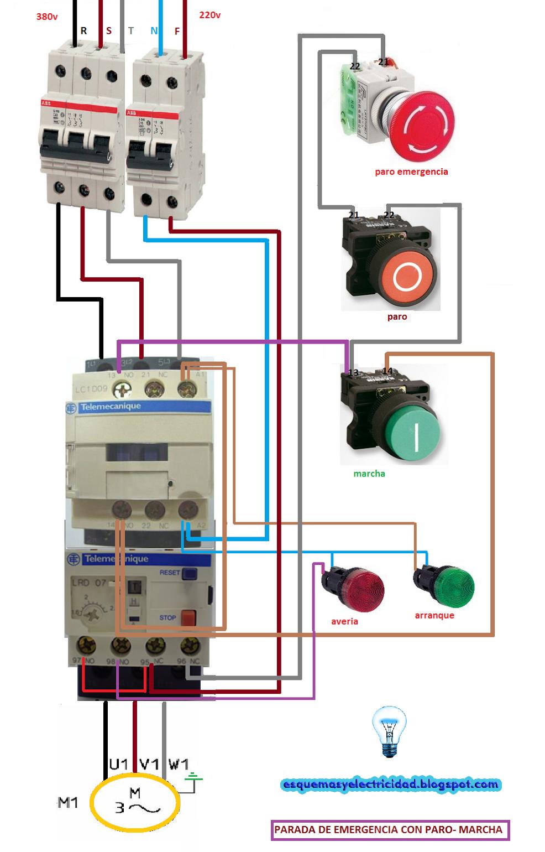 Arranque By Bparada Bcon Bparo Bde Bemergencia Bmotor Btrifasico on Timer To Contactor Wiring Diagram