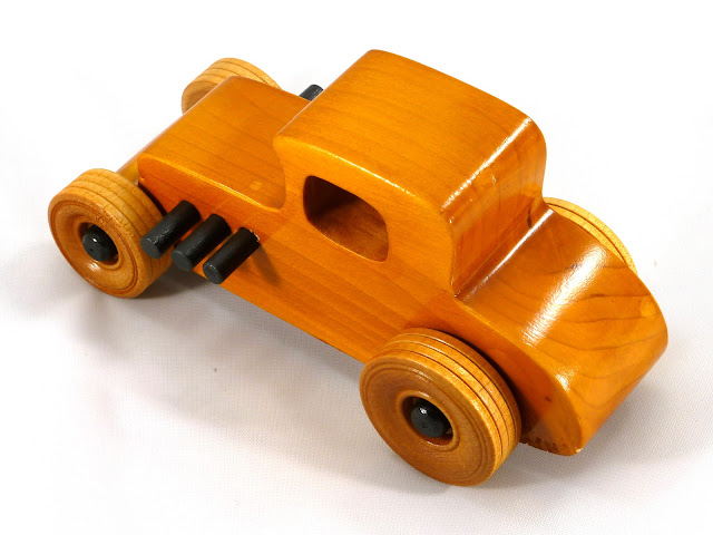 Left Rear Top - Wooden Toy Car - Hot Rod Freaky Ford - 27 T Coupe - Pine - Amber Shellac - Black Hubs