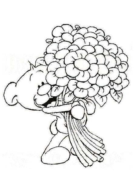 Cartoon Baby Bear With Flowers Coloring Pages