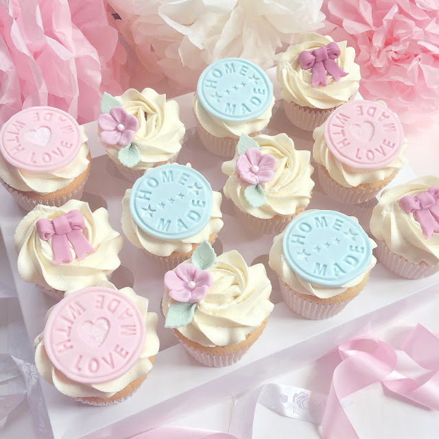 Made With Love Fondant Cupcakes with Flowers & Bows