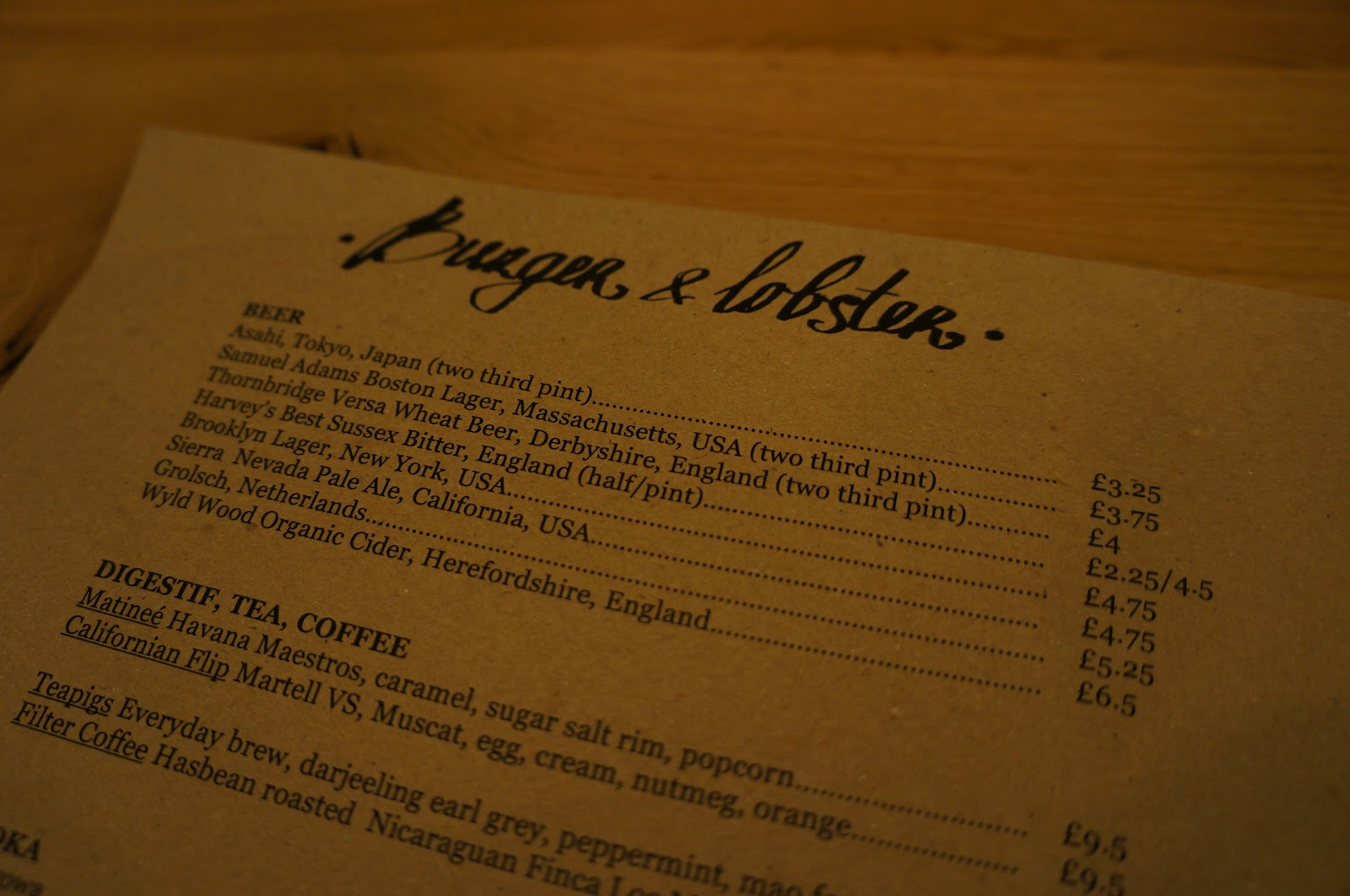 Food over London: Burger & Lobster - No Alarms and No Surprises