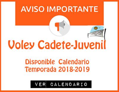 VOLEY CADETE-JUVENIL: Disponible Calendario Temporada 2018-2019