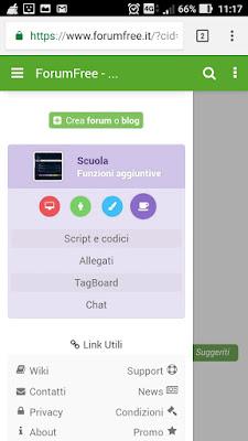 Pannello chat forum ragazzi