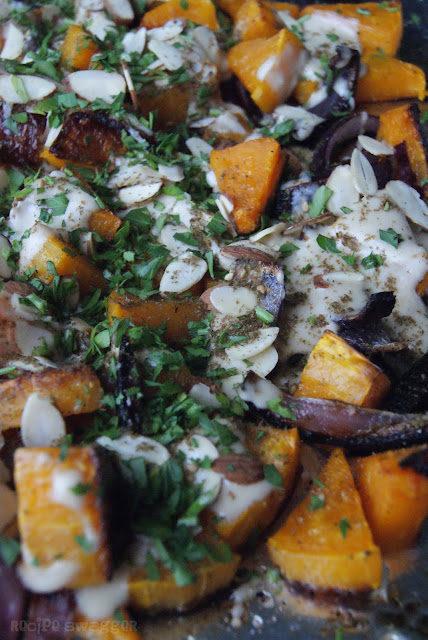 Roasted Butternut Squash with Red Onion & Tahini
