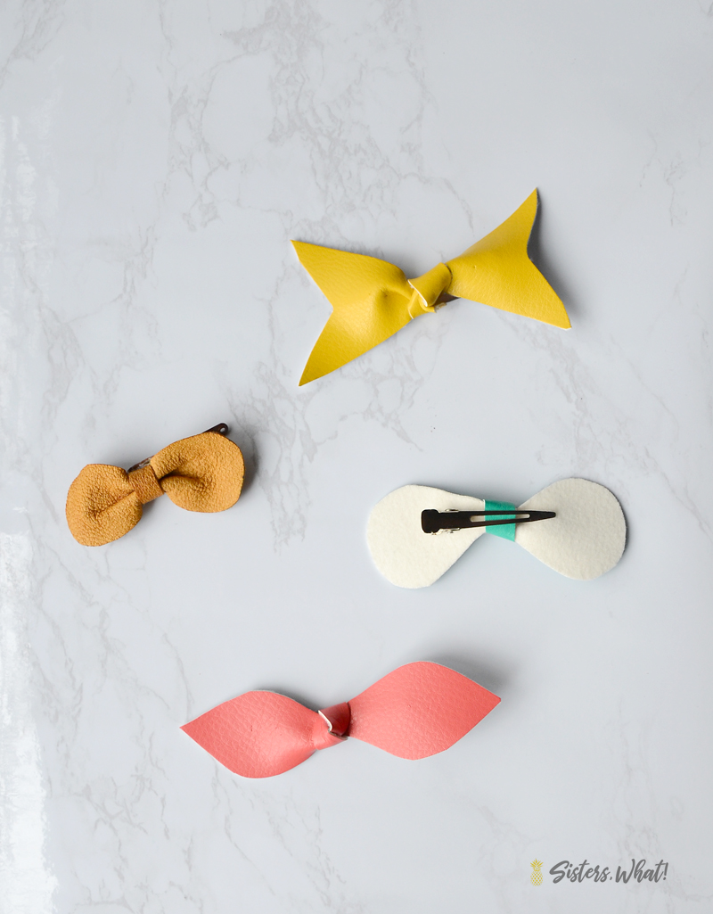 DIY faux leather bow hair clips