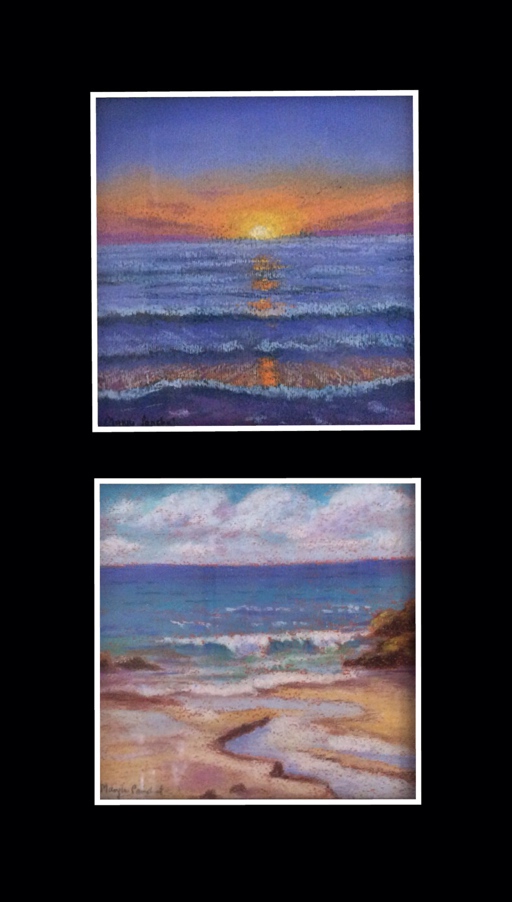 "two seascapes 6"" X 6"" done in soft pastels by Manju Panchal"