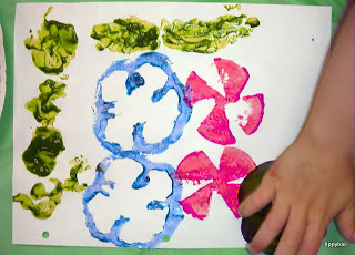vegetable prints with school paints