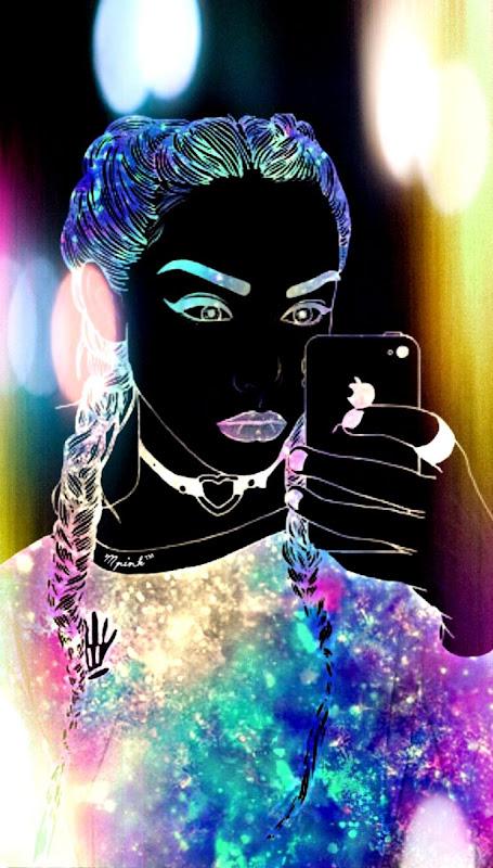 galaxy hipster girl wallpaper my wallpaper creations pinterest