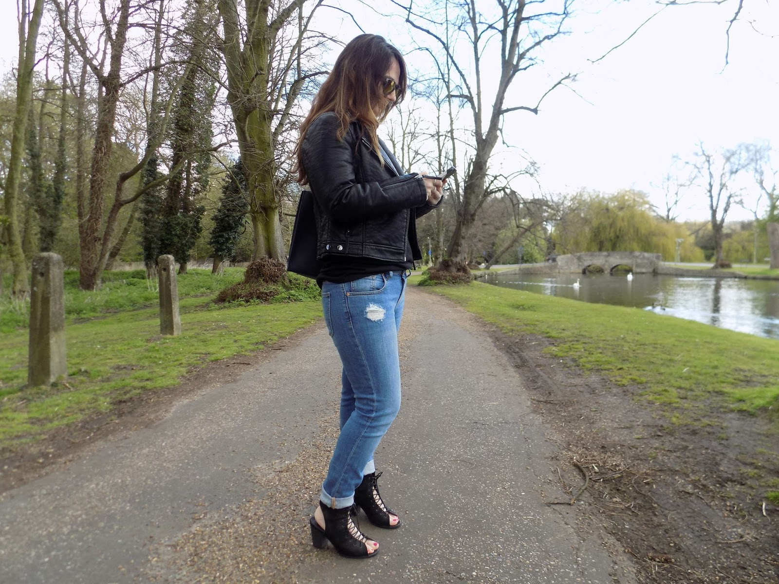 Asos boyfriend jeans in a lace up look