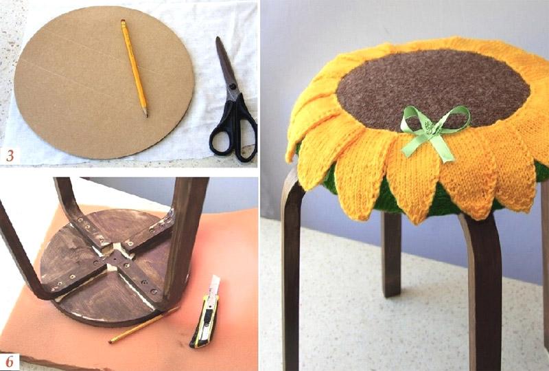 Чехол - подсолнух для табурета. Case - Sunflower for stool