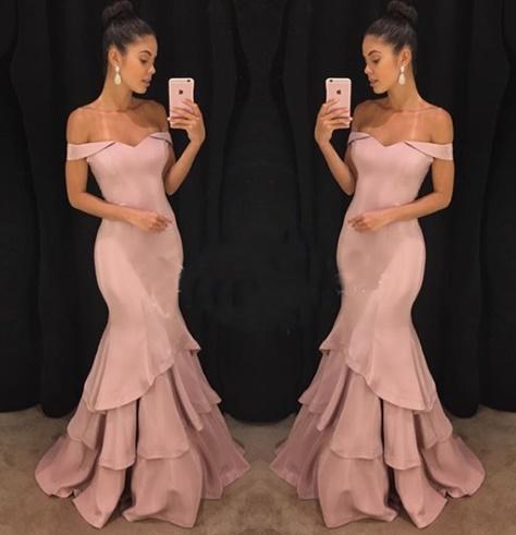 vestido de festa ombro a ombro rosa