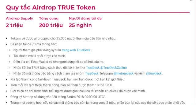 Nhận 70 token TRUE miễn phí