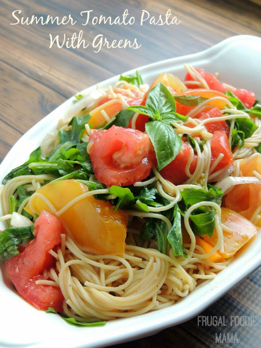 This fresh & bright Summer Tomato Pasta with Greens is the perfect way to use up those summer tomatoes.