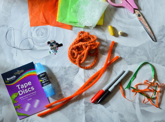 All the things you need, glue, pipe cleaners etc.