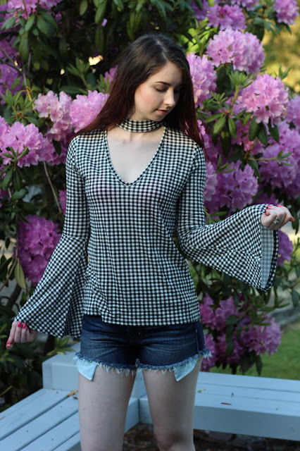 gingham cutout bell sleeve top
