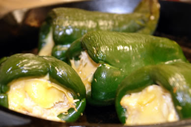 Poblano Pepper stuffed with Chicken and Smoked Gouda