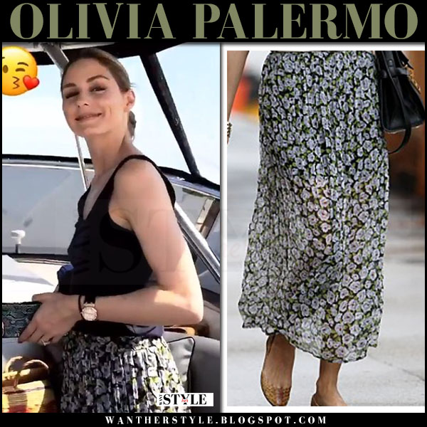 Olivia Palermo in black top, floral print maxi skirt topshop what she wore july 2017 capri style