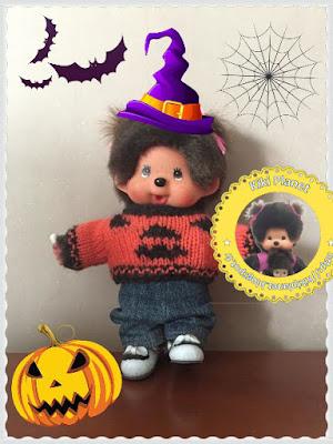Pull Citrouille pour Kiki ou Monchhichi - réalisé main - handmade - tricot - citrouille - halloween