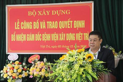 Tân Giám đốc Bệnh viện Xây dựng Việt Trì phát biểu