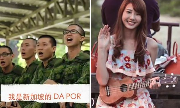 Joyce Chu in her video 'Malaysian Chabor' (right), and a screenshot from Singaporean Dapor's parody (left).