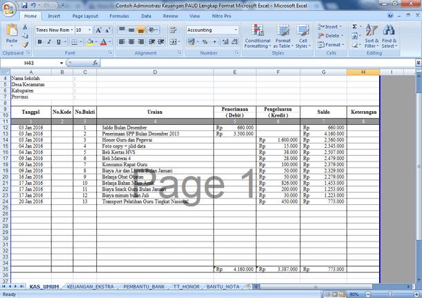 Contoh Administrasi Keuangan PAUD Lengkap Format Microsoft Excel