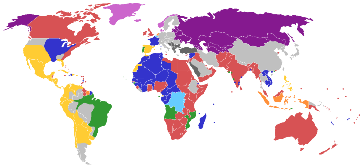 Map of the World showing the last European country controlling each territory