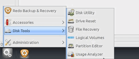Redo Backup and Recovery Disk Tools Disk utility