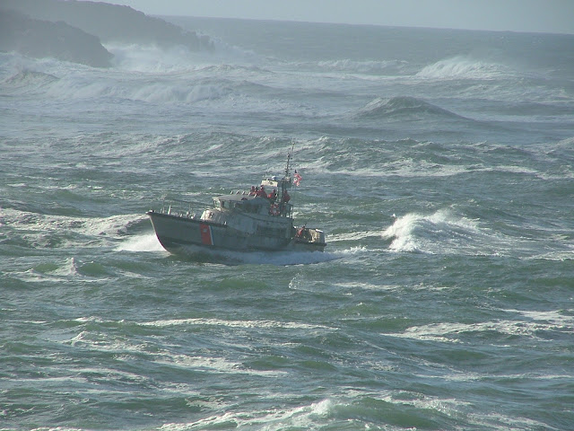 Coast Guard boat battling big waves