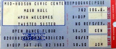 Twisted Sister ticket stub Mid-Hudson Civic Center July 2, 1983