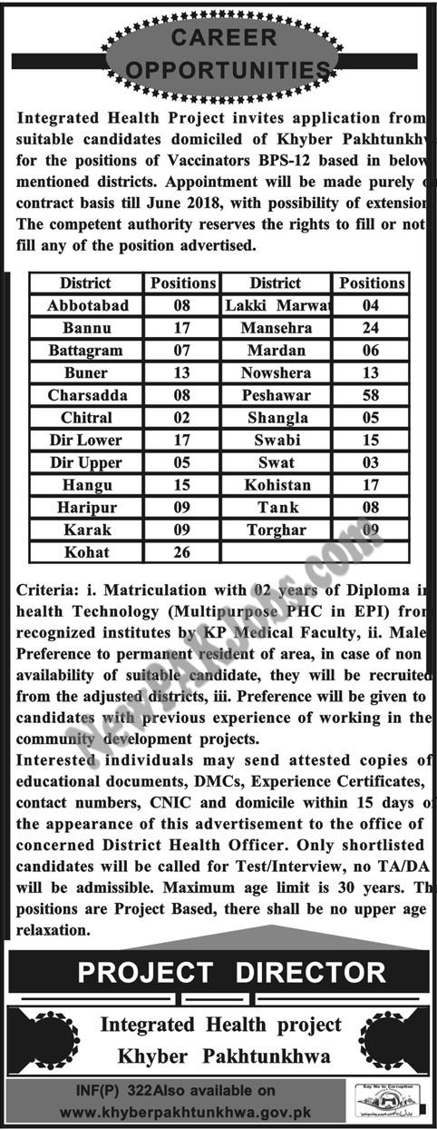 Vaccinators Jobs in KPK Health Department Mashraq Newspaper Advertisement (298+ Vacancies)