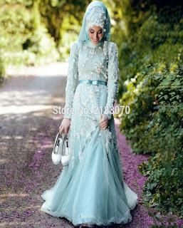 gaun pengantin muslimah bercadar