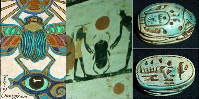 Egyptian blue green scarab meaning and history