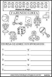 Lista de brinquedos grupo semântico alfabetização