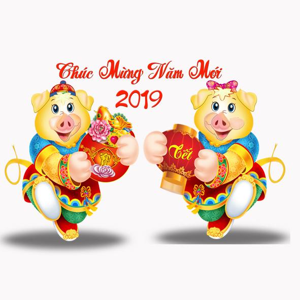 hình ảnh chúc heo hoạt hình chúc mừng năm mới tết kỷ hợi 2019