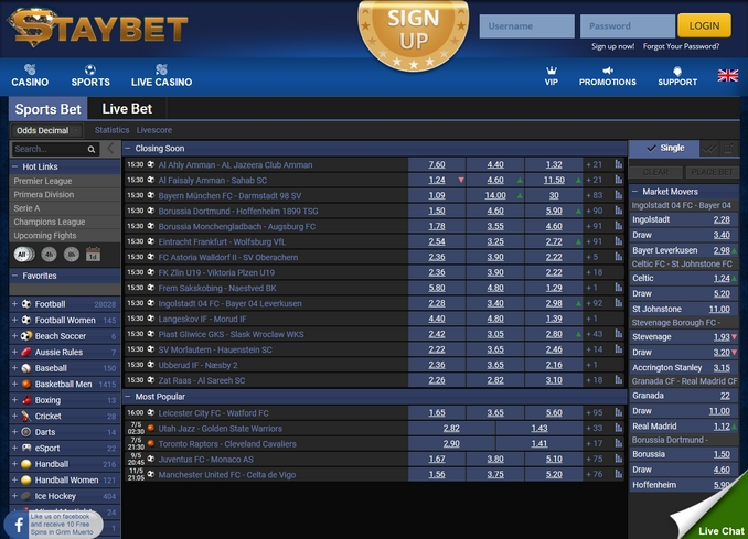 Staybet Screen