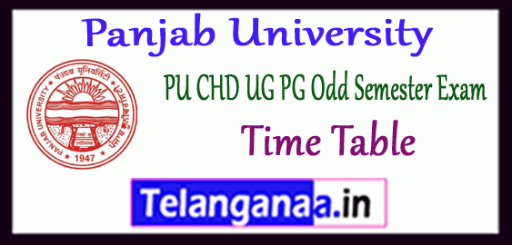 PUCHD Panjab University UG PG 1st 3rd 5th Semester Exam Time Table