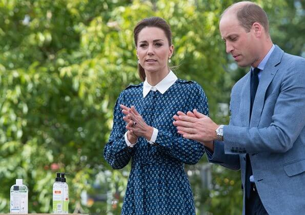 Kate Middleton wore a new floral print shirt dress by Beulah London. Crown Princess wore the same dress. Patrick Mavros quartz earrings