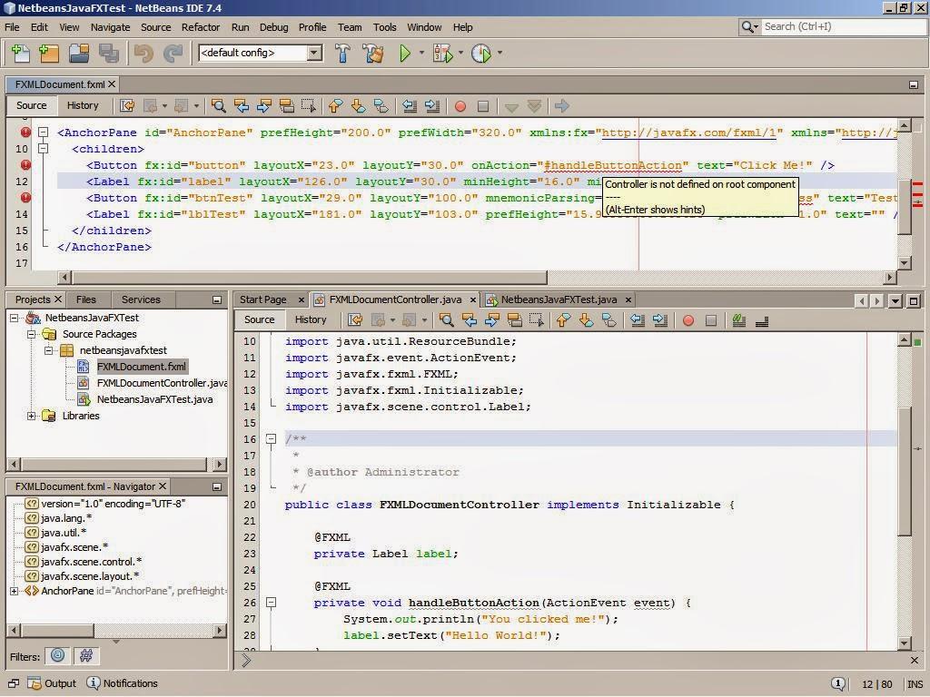 Netbeans, Android, JavaFX & Scene Builder: JavaFx Beginners