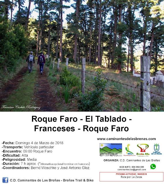 Caminantes de Las Breñas, Domingo 4 de Marzo: Circular Roque Faro
