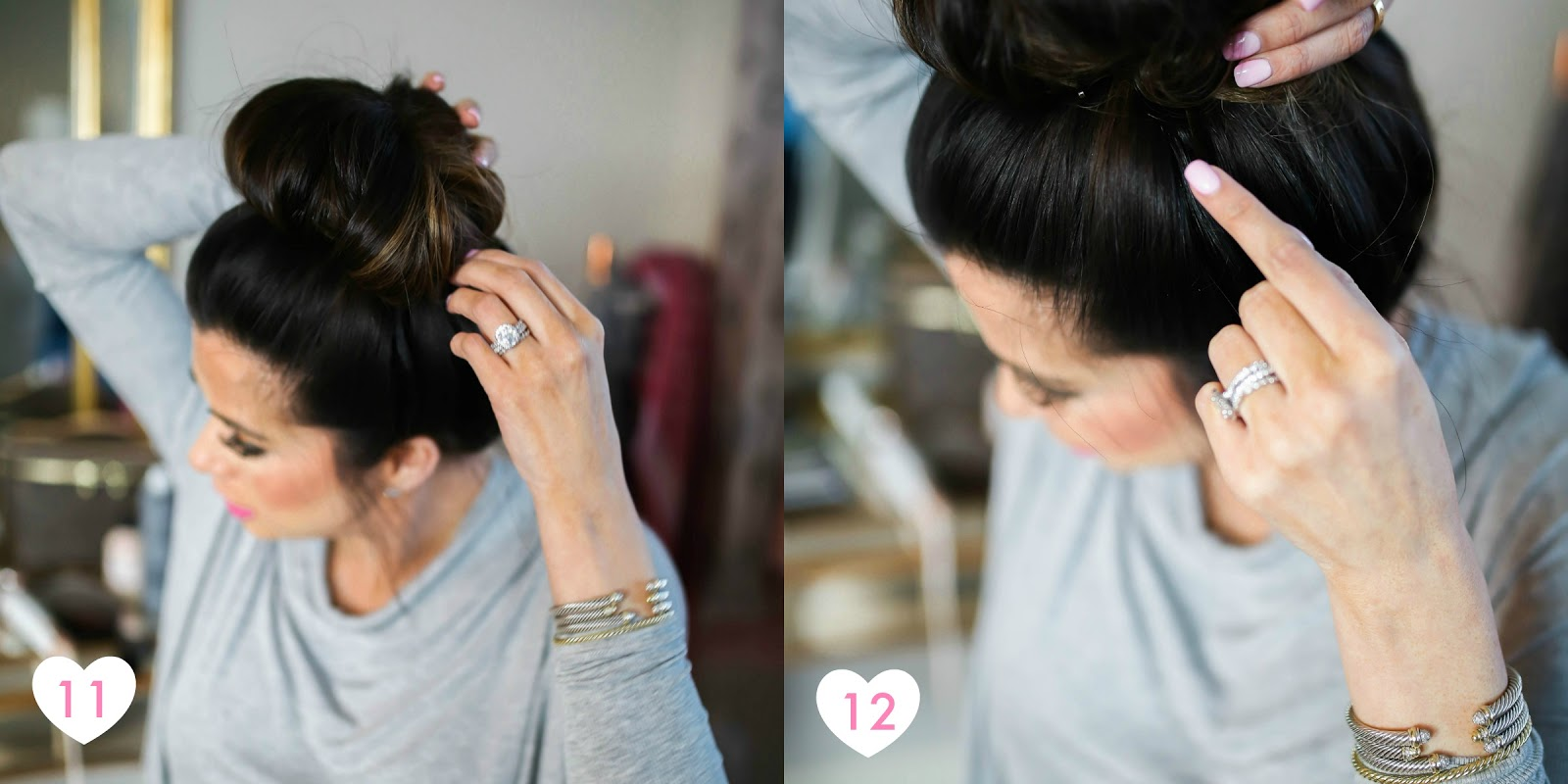My easy 60 second bun tutorial the sweetest thing steps 11 12 the last thing i do is use two large roller bobby pins to secure the bun if there are any loose pieces i pin those down baditri Choice Image