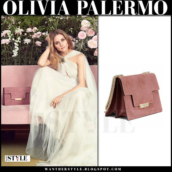 Olivia Palemo in white gown with pink suede clutch Aerin Fall Campaign  what she wore