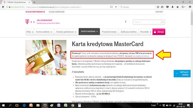 200 zł na zakupy w Tesco za kartę kredytową w T-Mobile Usługi Bankowe - informacja na stronie www