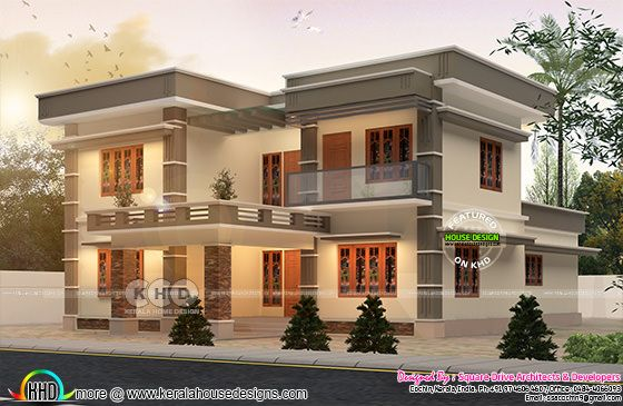 Flat roof house plan in 3100 square feet
